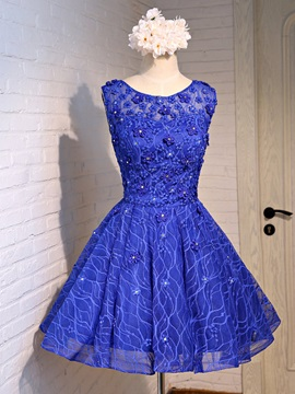Scoop Neck Flowers Beading Lace Homecoming Dress & Homecoming Dresses under 100