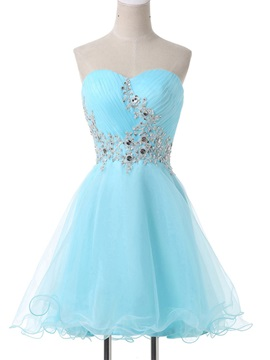 A-Line Sweetheart Appliques Beading Lace-Up Homecoming Dress & Homecoming Dresses under 100