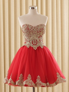A-Line Sweetheart Appliques Lace-Up Homecoming Dress & Homecoming Dresses under 500
