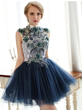 Vintage High Neck Appliques Short Homecoming Dress & Homecoming Dresses under 100