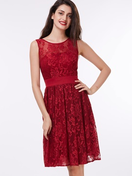 Scoop Neck Straps Knee-Length Lace Homecoming Dress & informal Homecoming Dresses