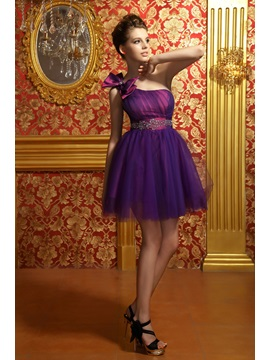 One-Shoulder Empire Waist Beaded Bowknot Anita's Sweet 16 Dress & casual Homecoming Dresses