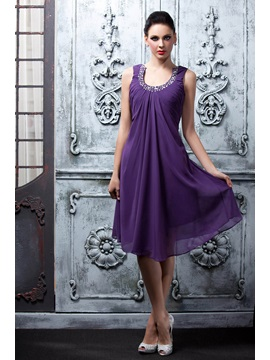 Charming A-Line Knee-Length Scoop Neck Beading Polina's Homecoming Dress & Homecoming Dresses online