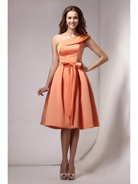 Elegant A-line Knee-Length Sashes One-Shoulder Sandra's Homecoming Dress & Homecoming Dresses on sale
