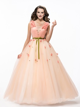 Enchanting A-Line Straps Sash Flowers Beading Floor-Length Lace-up Quinceanera Dress