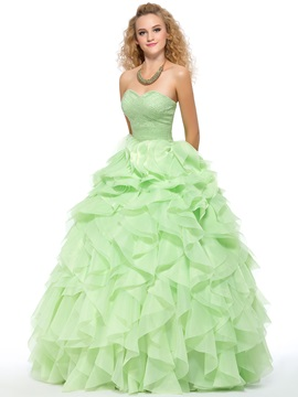Pure Color Sweetheart Beading Cascading Ruffles Lace-up Floor-Length Quinceanera Dress