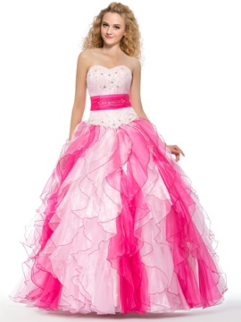 Admirable Ball Gown Sweetheart Cascading Ruffles Beading Quinceanera Dress
