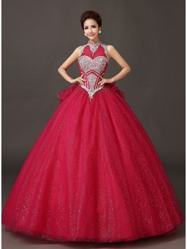 Dramatic Jewel Neckline Beading A-Line Bowknot Lace-up Long Quinceanera Dress