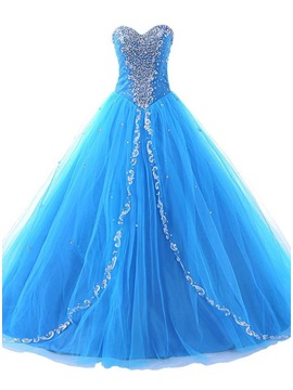 Glamorous Sweetheart Beaded Appliques Lace-up Long Quinceanera Dress