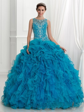 Amazing Straps Embroidery Beading Ruffles Ball Gown Quinceanera Dress