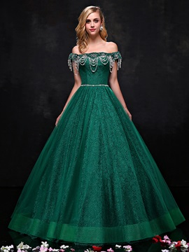 Vintage Off the Shoulder Lace Ball Gown Quinceanera Dress
