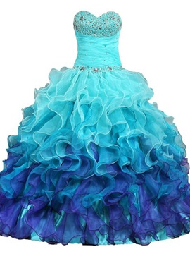 Drmatic Sweetheart Beading Ruffles Lace-Up Quinceanera Dress