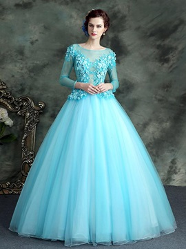 Dramatic Bateau Ball Gown Long Sleeves Beading Lace Floor-Length Quinceanera Dress