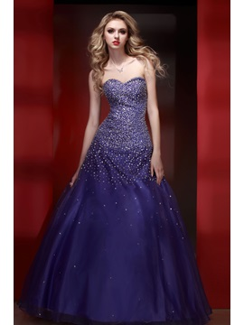 Elegant Sweetheart Floor-length Sequins Beading Lace-up Quinceanera Dress