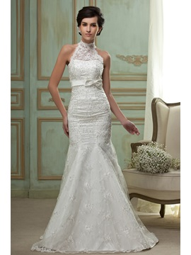 Elegant Mermaid High-Neck Chapel Train Embroidery Wedding Dress