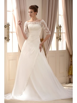 Fashion Off the Shoulder A-Line/Princess Chapel Train Pleats Wedding Dress