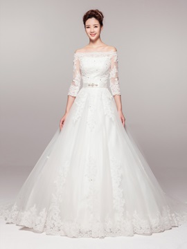Classic Appliques Floor Length Off The Shoulder Chapel Train Wedding Dress