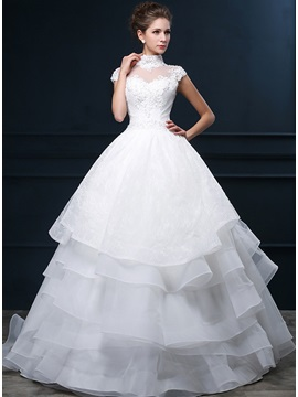 Classy Beaded High Neck Short Sleeve White A-Line Wedding Dress