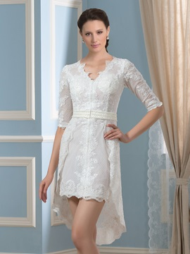 V-Neck Half Sleeve Asymmetry Beaded Lace Short Wedding Dress