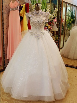 Floor Length Ball Gown Rhinestone High Neck Tulle Wedding Dress