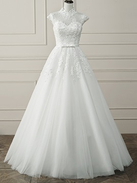 Floor Length A-Line Beaded Lace High Neck Open Back Wedding Dress