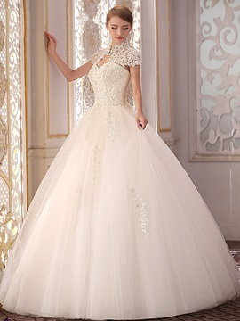Beaded Floral Lace High Neck Vintage Ball Gown Wedding Dress