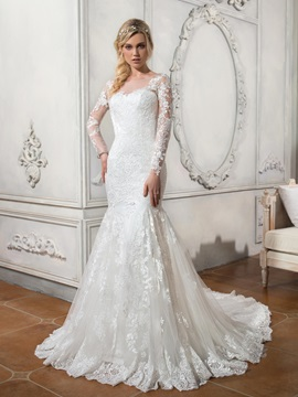 Beautiful Scoop Neck Lace Appliques Mermaid Wedding Dress