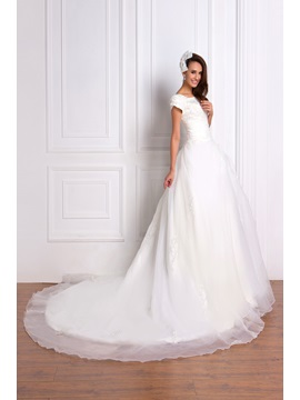 Luxurious Appliques Princess Square Short-Sleeve Chapel Renata's Wedding Dress