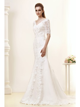 Gorgeous Mermaid V-Neck Half Sleeves Wedding Dress