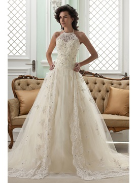 Amazing Sleeveless A-line High-Neck Floor-Length Court Appliques Color Wedding Dress