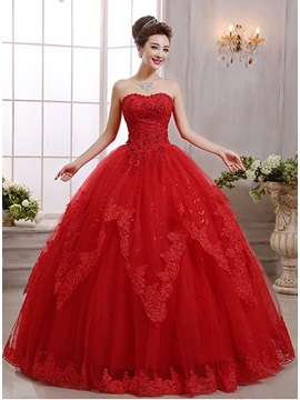 Strapless Floor Length Ball Gown Red Wedding Dress
