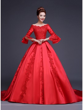 Popular Beaded Lace Off the Shoulder Long Sleeve Red Wedding Dress