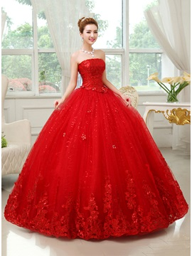 Strapless Floor Length Red Ball Gown Wedding Dress