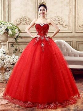 Floor Length Ball Gown Beaded Sweetheart Red Wedding Dress