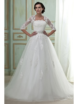 Amazing Strapless Floor-length Lace Appliques Wedding Dress With Jacket/Shawl