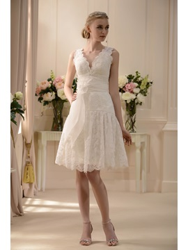 Fabulous V-neck Knee-Length Zipper-Up Sash Lace Wedding Dress