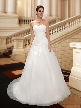 Wonderful Sweetheart A-Line White Lace Wedding Dress