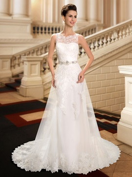 Jewel Neck Lace Appliques A-Line Wedding Dress