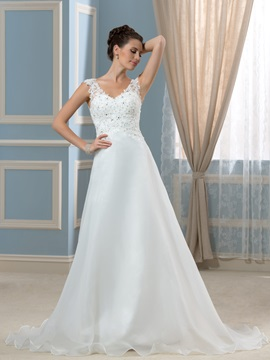 Simple Organza Satin Court V-Neck A-Line Wedding Dress