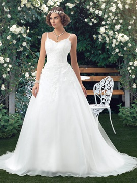 Floor Length A-Line Spaghetti Straps V-Neck Backless Wedding Dress