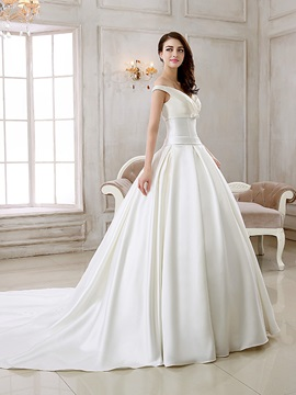 Off the Shoulder Buttoned Zipper Up Cathedral Wedding Dress