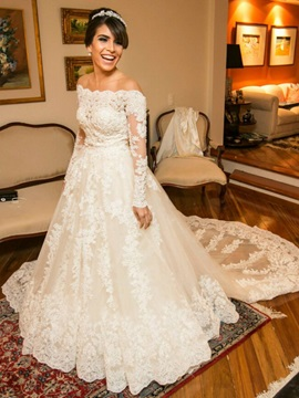 Off The Shoulder Long Sleeves Appliques A Line Wedding Dress