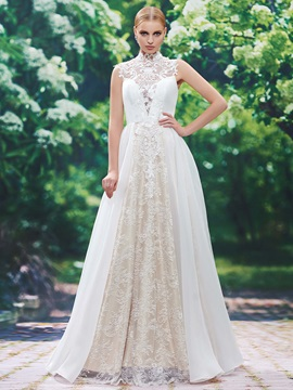 High Neck Button Lace A Line Wedding Dress