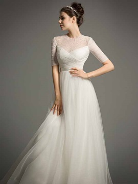 Elegant Jewel Neck Pearls Sweep Train A Line Wedding Dress