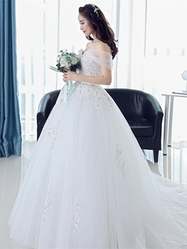 Sweetheart Appliques Beaded Lace- Up Court Train A Line Wedding Dress