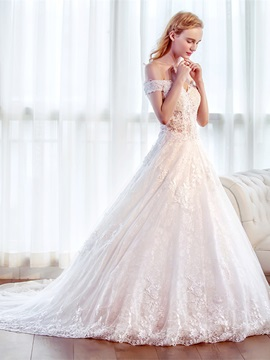 Off-The-Shoulder Beaded Lace Wedding Dress