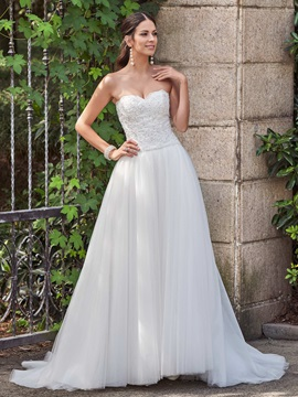 High Quality Sweetheart Appliques Beaded A Line Wedding Dress