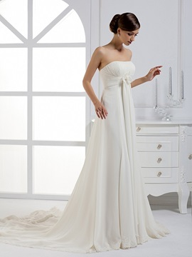 Gorgeous A-line Strapless Ribbons Flower Chapel Train Wedding Dress