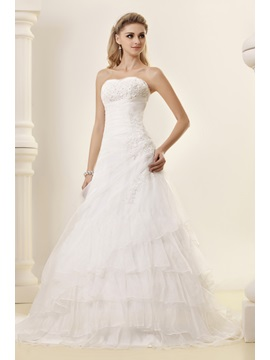 Gorgeous Strapless A-line Chapel Train Tiered Dasha's Wedding Dress
