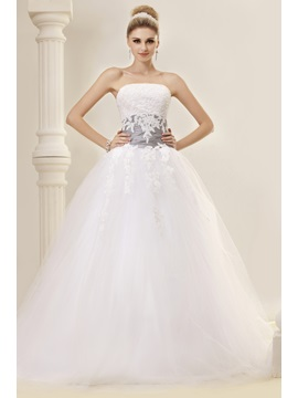 Elegant Ball Gown Strapless Appliques Chapel Train Dasha's Wedding Dress